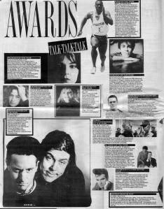 Melody Maker Talk Talk Talk Awards page 1988.