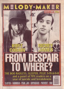 Kurt Cobain and Richey James on the cover of Melody Maker 1995