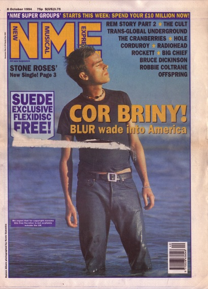 Damon Albarn of Blur on the cover of N.M.E. 8th October 1994