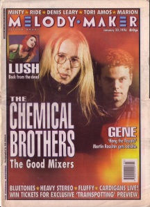 The Chemical Brothers on the cover of Melody Maker 20th January 1996