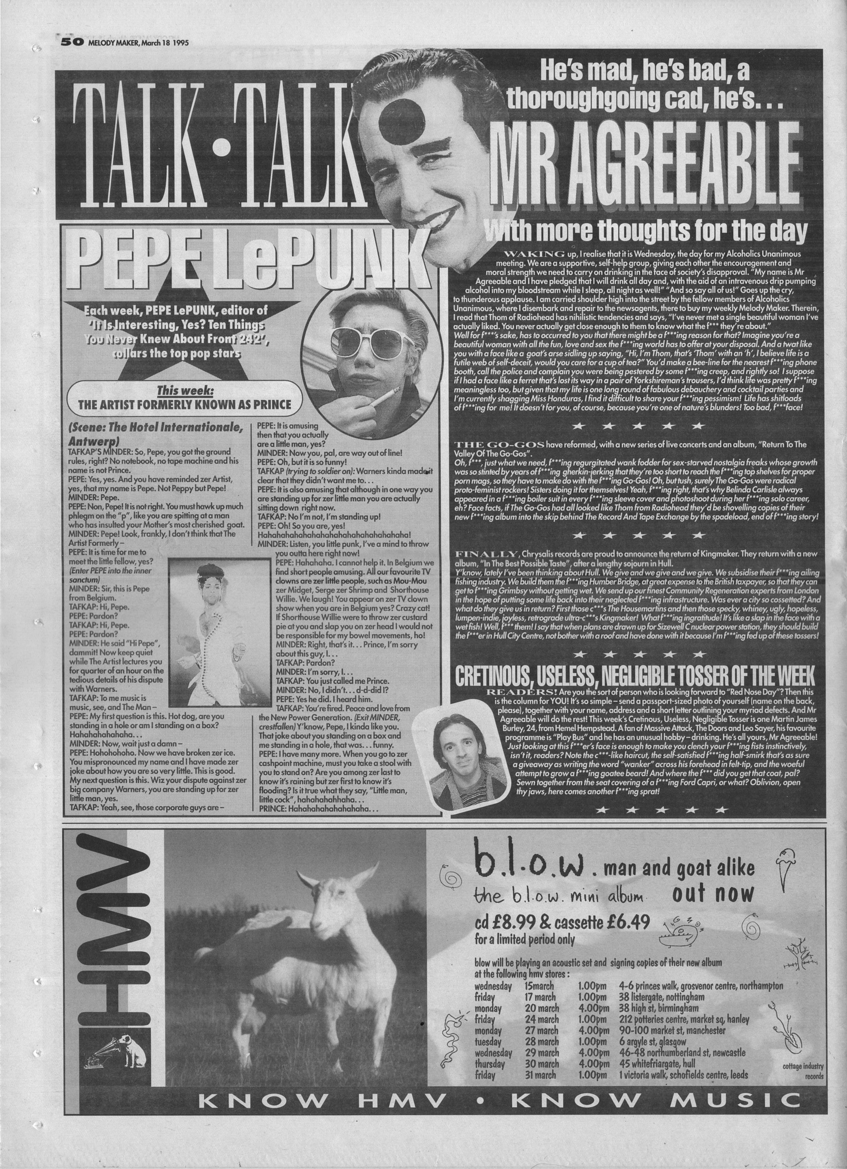 Mr. Agreeable, 18th March 1995   Archived Music Press