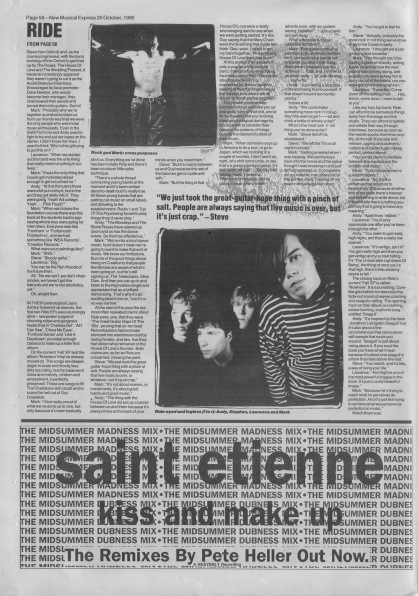 Ride Interview part 2 in NME 20th October 1990