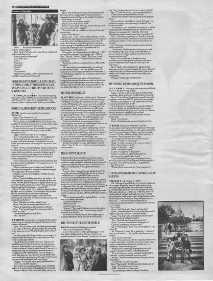 Chris Roberts interviews The Sugarcubes - part two, 24th-31st December 1988