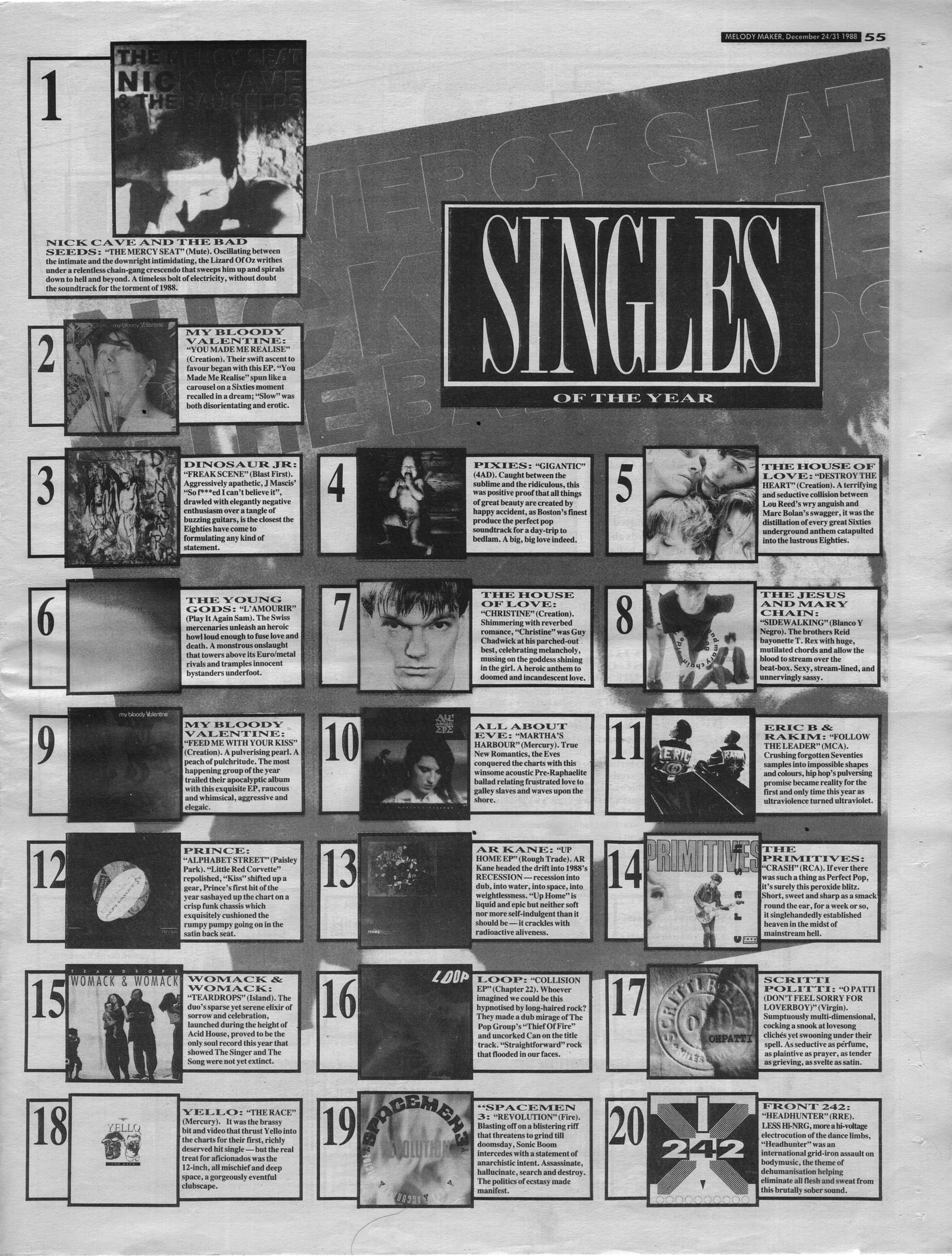 Singles archived music press for 1988 music charts