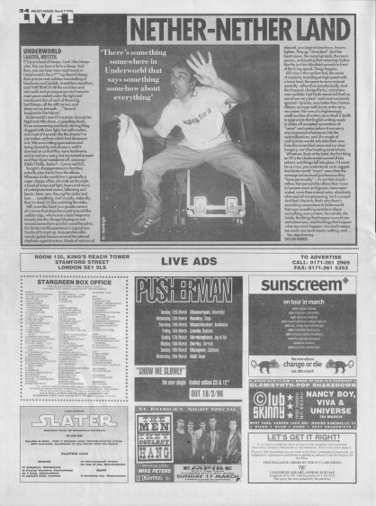 Taylor Parkes reviews Underworld live at Lakota, 9th March 1996