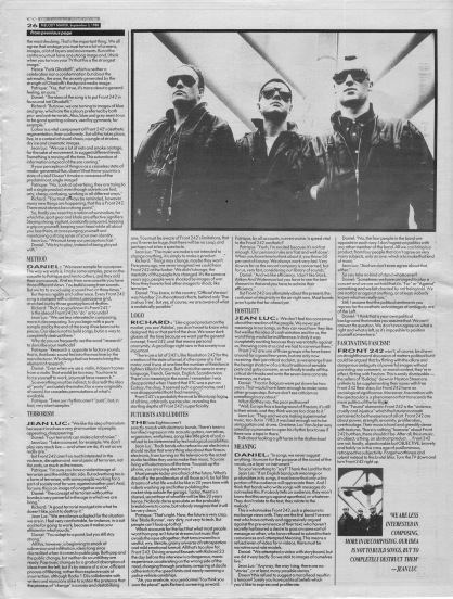 David Stubbs interviews Front 242 part 2, 3rd Sept 1988
