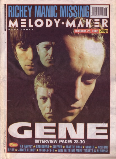 Gene on the cover of Melody Maker, 25th February 1995