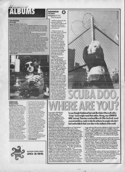 Jennifer Nine reviews The Bends by Radiohead, 11th March 1995