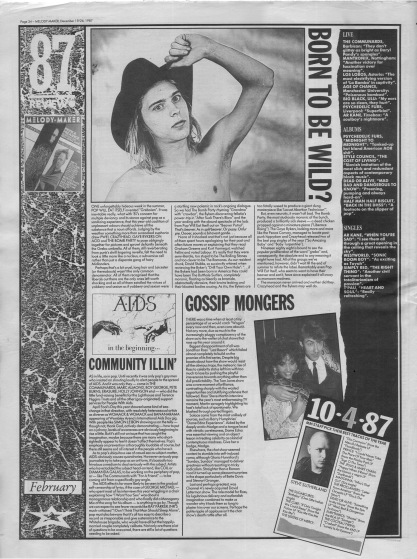 Melody Maker review of February 1987 with staff picks by Steve Sutherland