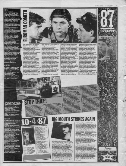 Melody Maker review of June 1987 with staff picks by Mat Smith
