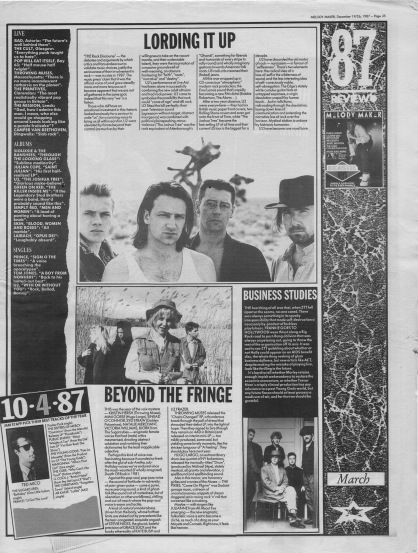 Melody Maker review of March 1987 with staff picks by Ted Mico