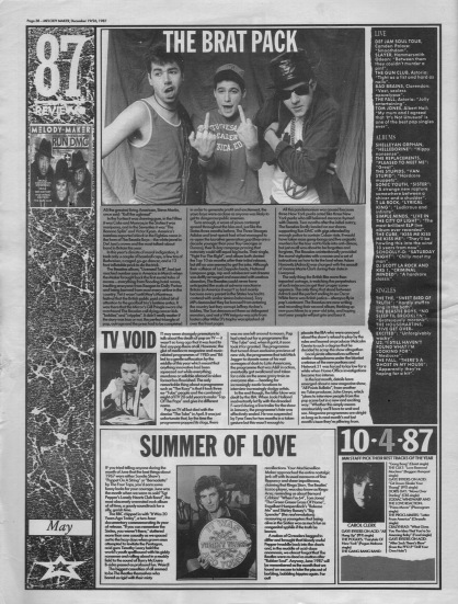 Melody Maker review of May 1987 with staff picks by Carol Clerk