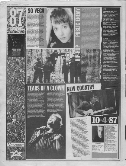 Melody Maker review of November 1987 with staff picks by Ben Stud