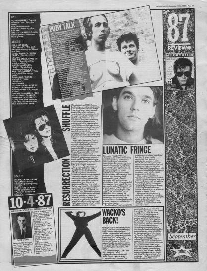 Melody Maker review of September 1987 with staff picks by David Stubbs