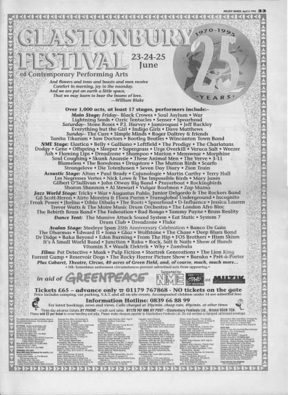 Glastonbury Advertisement 1995