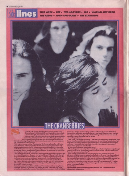 Ian Gittins profiles The Cranberries in Sidelines, 20th July 1991