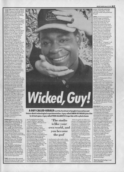 Simon Reynolds interviews A Guy Called Gerald, 25th March 1995