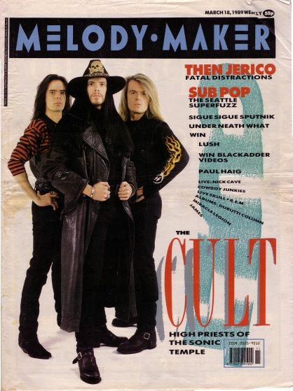 The Cult on the cover of Melody Maker, 18th March 1989