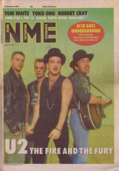 U2 on the cover of the N.M.E., 22nd October 1988