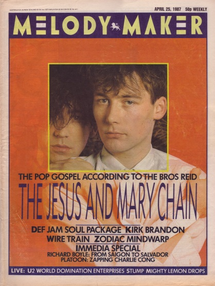 Jesus & Mary Chain on the cover of Melody Maker, 25th April 1987