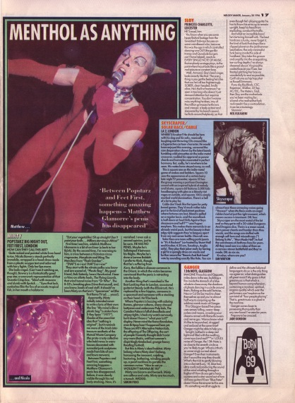 Various live reviews including Minty at Feet First London, 20th January 1996
