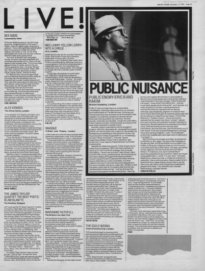 Public Enemy live at the Brixton Academy and other live reviews, 12th December 1987