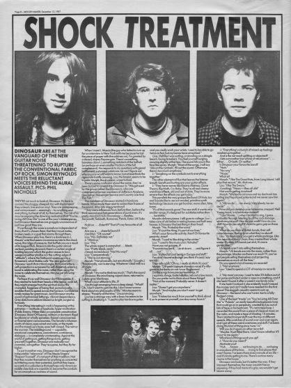Simon Reynolds interviews Dinosaur Jr., 12th December 1987