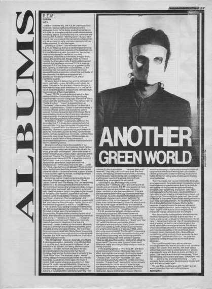 Allan Jones reviews R.E.M.'s Green, 12th November 1988
