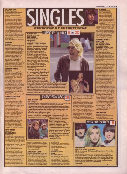 Everett True reviews the singles of the week, 11th December 1993