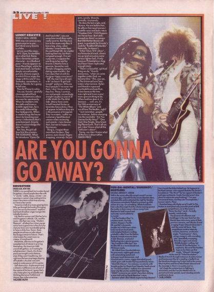 Simon Price reviews Lenny Kravitz live at Wembley Arena, 11th December 1993