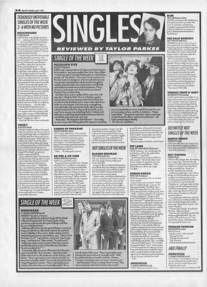 Taylor Parkes reviews the singles of the week, 1st April 1995