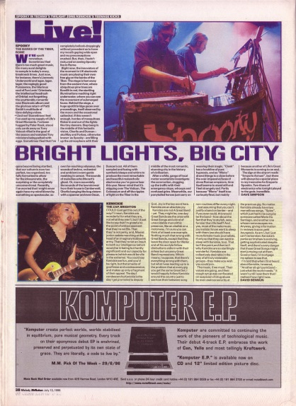 Dave Simpson reviews Spooky and David Bennun reviews Kenickie live, 13th July 1996