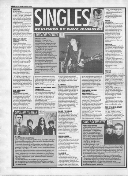 Deve Jennings reviews the singles of the week, 3rd September 1994