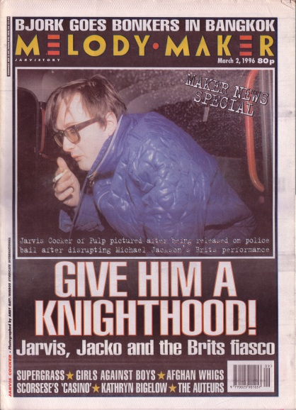 Jarvis Cocker on the cover of Melody Maker, 2nd March 1996