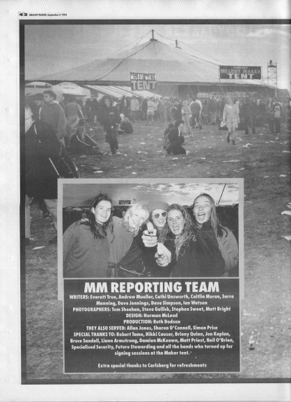Reading Festival Review - back cover, 3rd September 1994