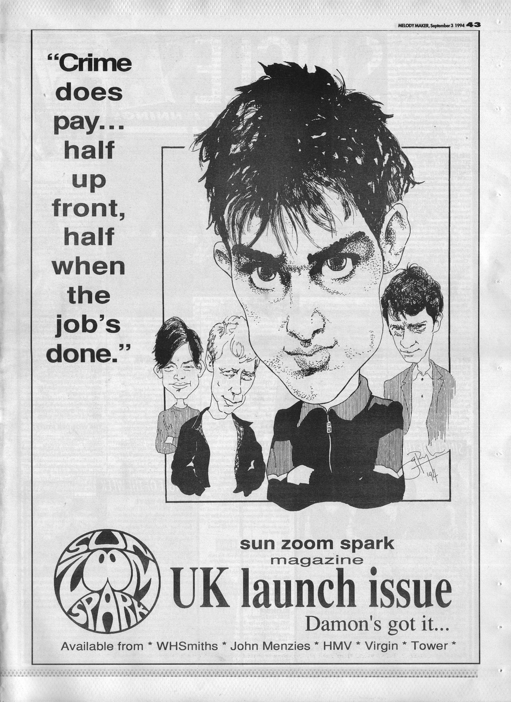 Sun Zoom Spark Launch Issue Advert 3rd September 1994 Archived Music Press