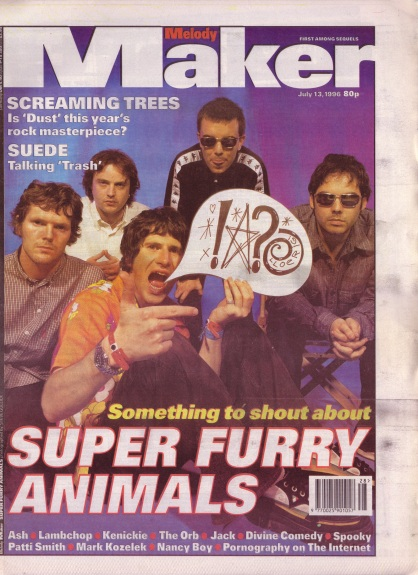 Super Furry Animals on the cover of Melody Maker, 13th July 1996