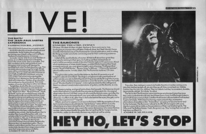 Andrew Mueller reviews The Ramones live at the Enmore Theatre Sydney, 9th December 1989