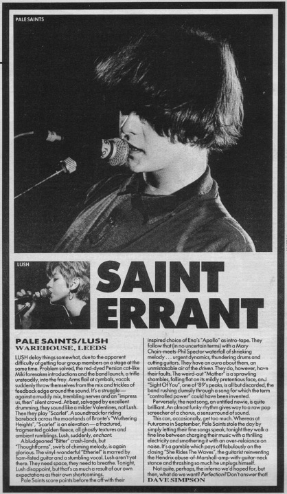 Dave Simpson reviews Lush and The Pale Saints, 9th December 1989