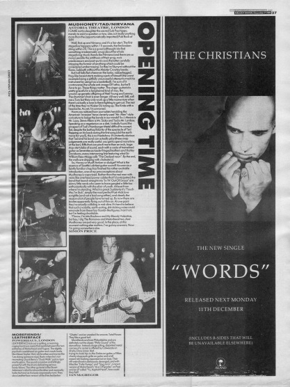 Simon Price reviews Mudhoney and Nirvana live at the Astoria, 9th December 1989