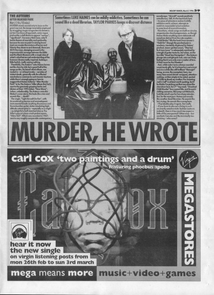 Taylor Parkes reviews After Murder Park by The Auteurs, 2nd March1996
