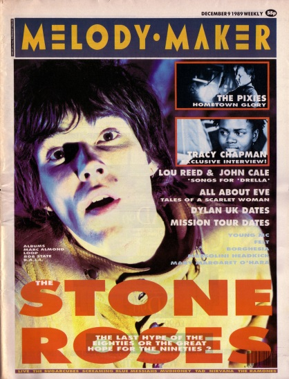 The Stone Roses on the cover of Melody Maker, 9th December 1989