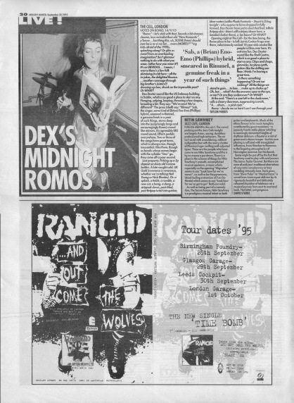 Taylor Parkes reviews Dex Dexter live at The Cell, 30th September 1995