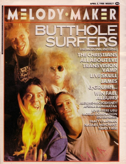 butthole surfers on the cover of melody maker, 2nd April 1988