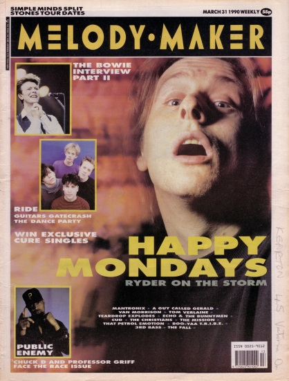 Happy Mondays on the cover of Melody Maker, 31 March 1990