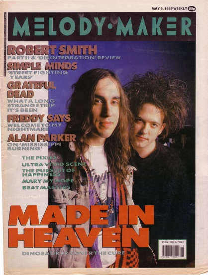 Robert Smith and J Mascis on the cover of Melody Maker, 6th May 1989