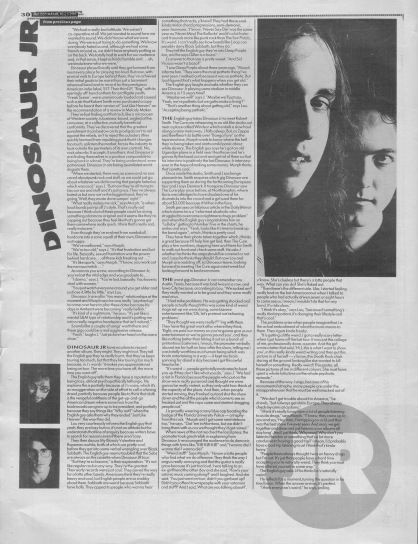 Steve Sutherland interviews Dinosaur Jr. and Robert Smith part 2, 6th May 1989