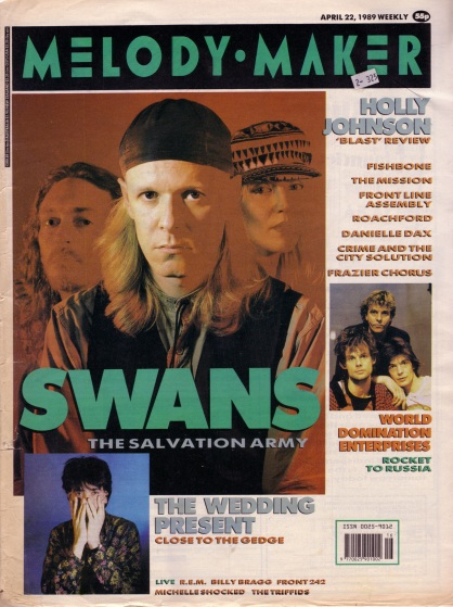The Swans on the cover of Melody Maker, 22nd April 1989