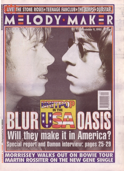 Blur Oasis on the cover of Melody Maker, 9th December 1995