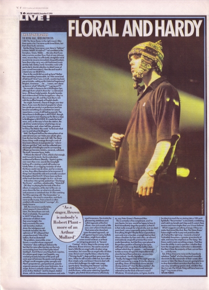 Taylor Parkes reviews The Stone Roses 9th December 1995